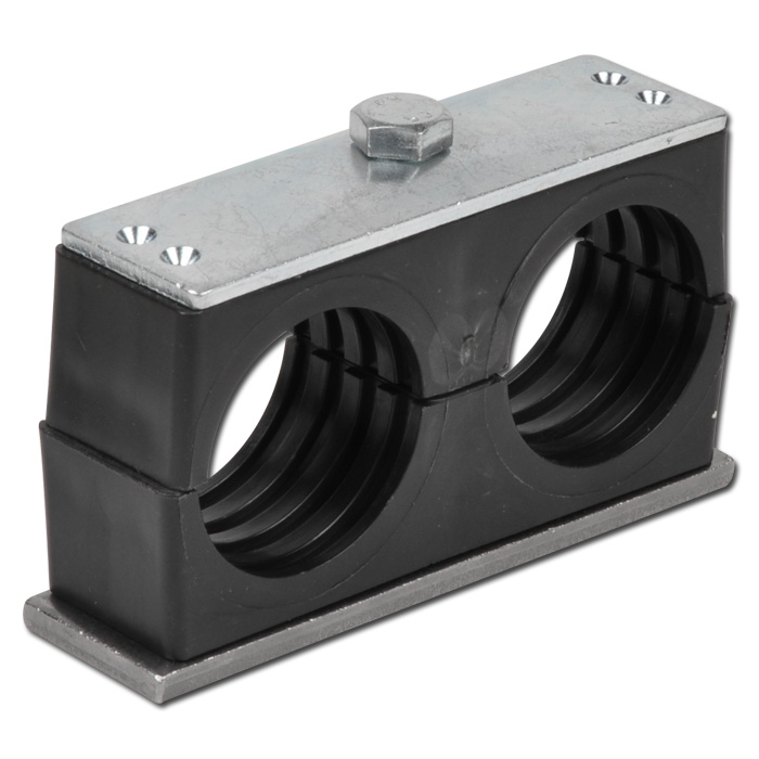 Double pipe clamps with welding and cover plate