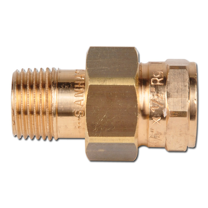 Threaded union female male thread conical sealing brass